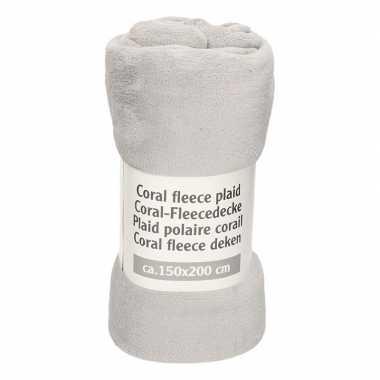 Middengrijze warme fleece deken 150 x 200 cm