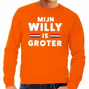 Mijn willy is groter sweater oranje heren