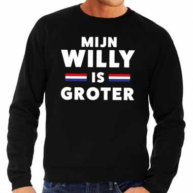 Mijn willy is groter sweater zwart heren