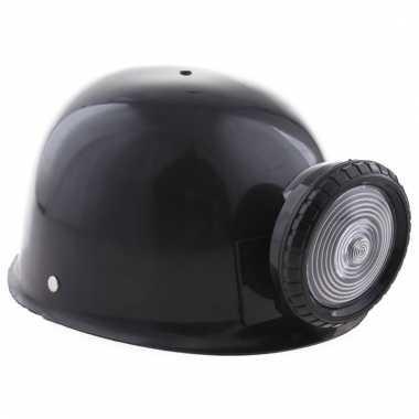 Mijnwerker helm zwart met licht