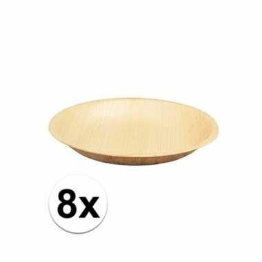 Milieuvriendelijk wegwerp servies 8 stuks palmblad borden 18 cm
