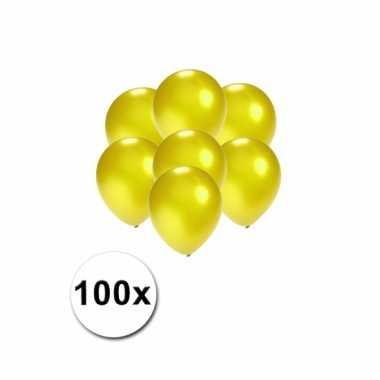 Mini ballonnen geel metallic 100 stuks