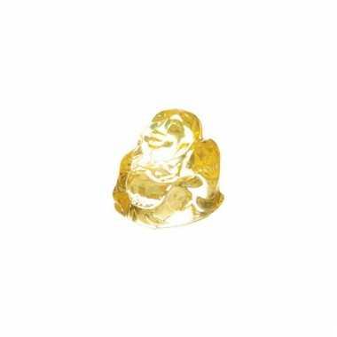 Mini boeddha beeldje doorzichtig geel 3 cm