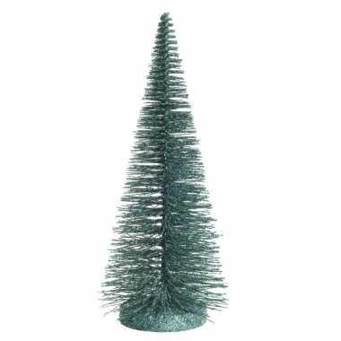 Mini decoratie glitter kerstboompje van 30 cm in het groen