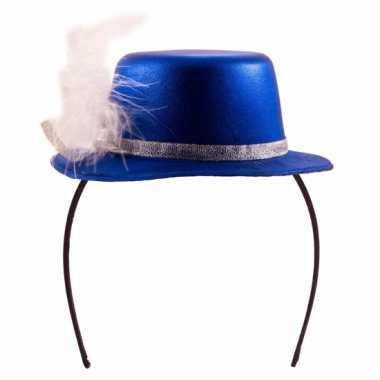 Mini hoedje blauw op diadeem