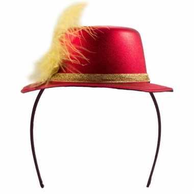 Mini hoedje rood op diadeem