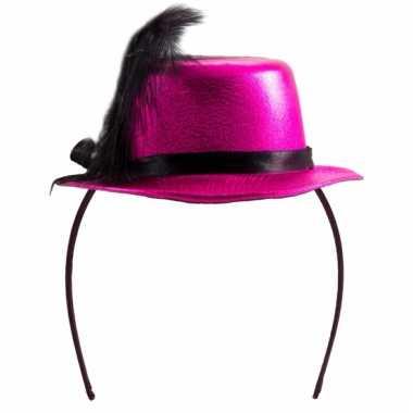 Mini hoedje roze op diadeem