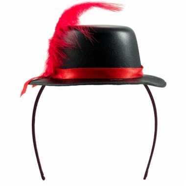 Mini hoedje zwart op diadeem