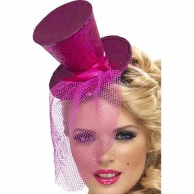 Mini hoge hoed op hoofdband roze