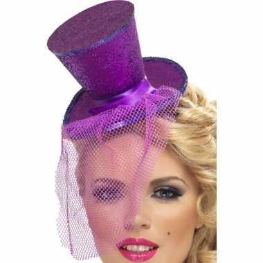 Mini hoge hoed paars op hoofdband