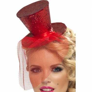 Mini hoge hoed rood op hoofdband