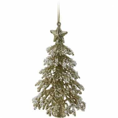 Mini kerstboom goud met glitters 16 cm