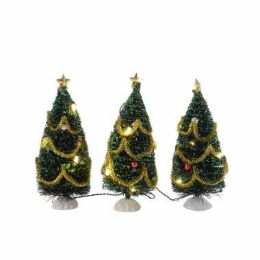 Mini kerstboom met led lampjes en versiering 15 cm