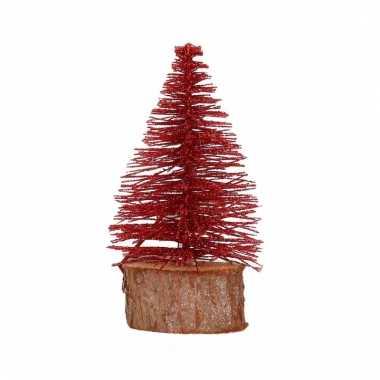 Mini kerstboom op stam 14 cm rood