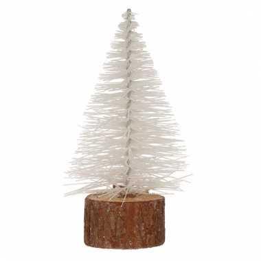 Mini kerstboom op stam 14 cm wit