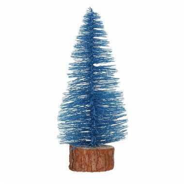 Mini kerstboom op stam 25 cm blauw