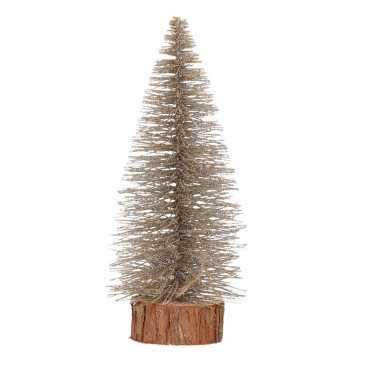 Mini kerstboom op stam 25 cm brons