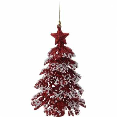 Mini kerstboom rood met glitters 16 cm