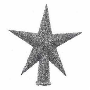 Mini kerstboompiek zilver glitter 12 cm