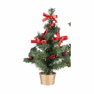 Mini kerstboompje goud met rood 20 cm
