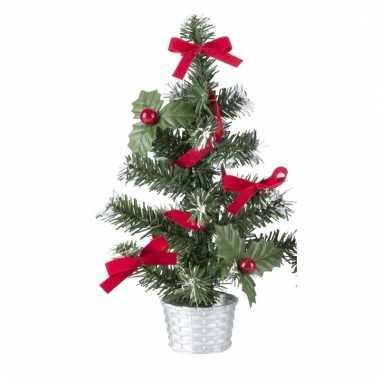 Mini kerstboompje zilver met rood 20 cm