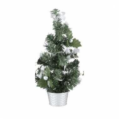 Mini kerstboompje zilveren versiering 20 cm