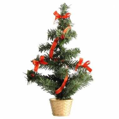 Mini kerstboompjes goud/rood 36 cm