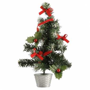 Mini kerstboompjes zilver/rood 36 cm