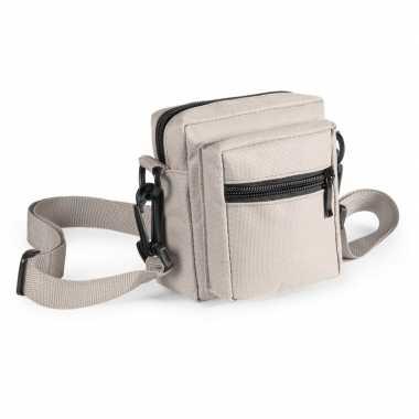 Mini schoudertasjes naturel 11 cm