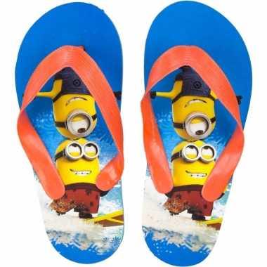 Minions flip flops blauw/oranje voor kinderen