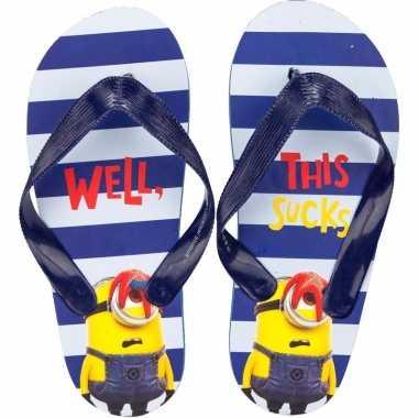 Minions flip flops blauw/witte strepen voor kinderen