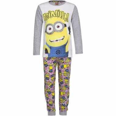 Minions meiden pyjama grijs