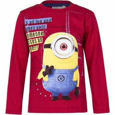 Minions shirt lange mouw rood voor jongens