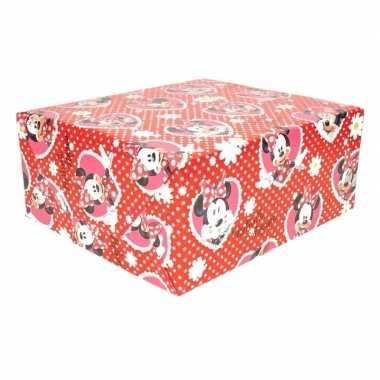 Minnie mouse hartjes geschenkpapier