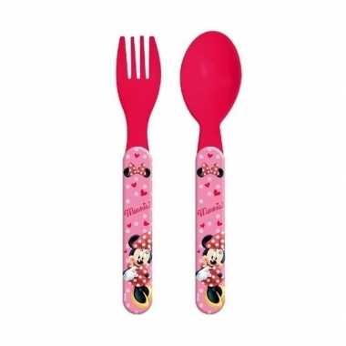 Minnie mouse lepel en vork 14 cm voor kinderen