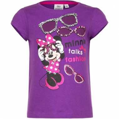 Minnie mouse shirt korte mouw paars voor meiden
