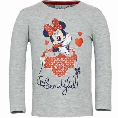 Minnie mouse shirt lange mouw grijs voor meisjes