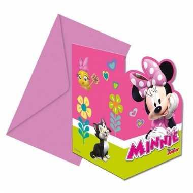 Minnie mouse verjaardag uitnodigingen 6 stuks