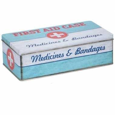 Mint groen / wit bewaarblik met vintage first aid print 26 x 13 cm