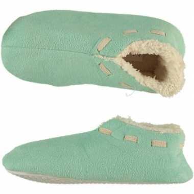 Mint groene spaanse sloffen/pantoffels stippen voor meisjes maat 33-3