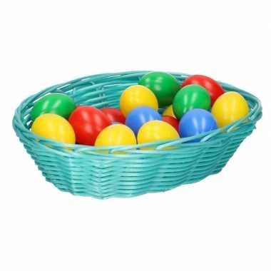Mintgroen mandje met gekleurde eieren 20 cm