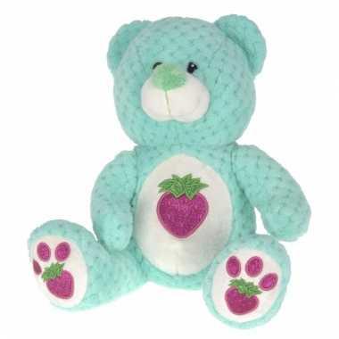 Mintgroene teddybeer met glitters 25 cm