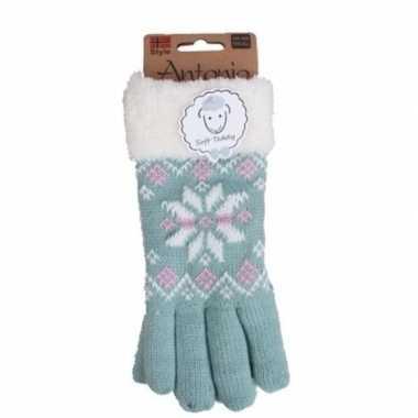 Mintgroene winterhandschoenen nordic voor dames