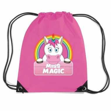 Miss magic de eenhoorn trekkoord rugzak / gymtas roze voor kinderen
