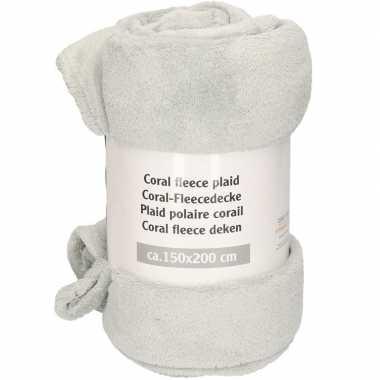 Mist grijze warme fleece deken 150 x 200 cm