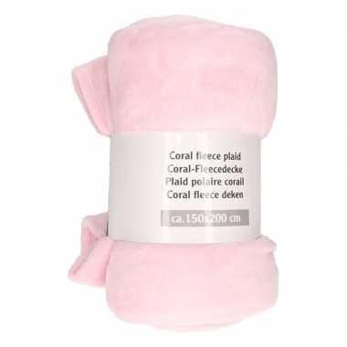 Mist roze warme fleece deken 150 x 200 cm