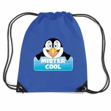 Mister cool pinguin trekkoord rugzak / gymtas blauw voor kinderen