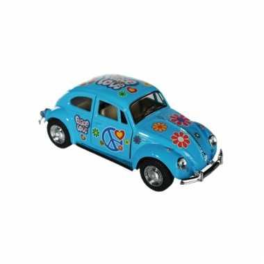 Modelautootje vw beetle blauw hippie 12,5 cm