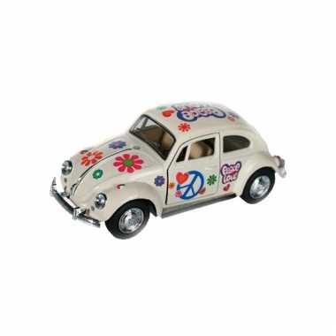 Modelautootje vw beetle wit hippie 12,5 cm