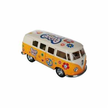 Modelbusje vw t1 geel hippie 12,5 cm
